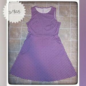 NY&Company Purple and White Sleeveless Dress Sz M